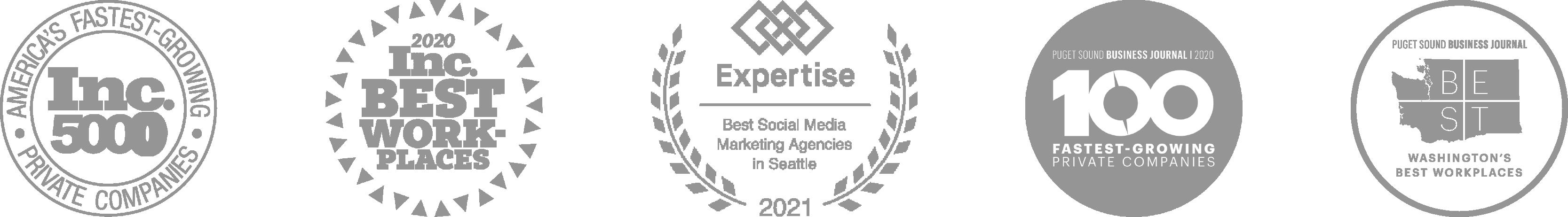 Awards Inc5000, IncBest Work Places, Expertise, 100 Fatest Growing, Best Washington Workplaces
